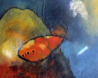 Abstract painting, Original painting, abstract fish,  art, water painting, abstract art, JDartiste, original painting, original abstract