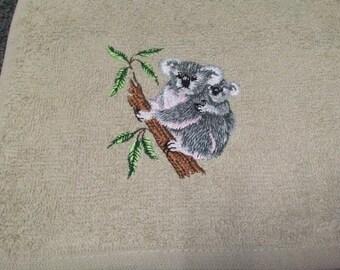 koala embroidered hand towel