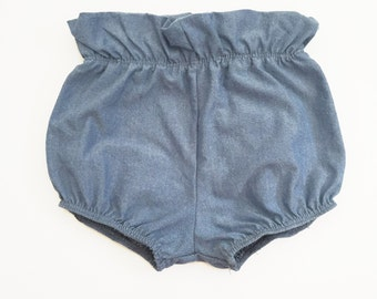Baby Bloomers, chambray baby bloomers - Diaper cover- nappy cover - toddler bloomers  bubble shorts - shorties