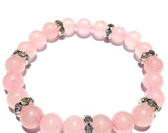 MAY BIRTHSTONE ~ ROSE Quartz Semi Precious Gemstone Bracelet. ~ The Stone of Love   ~ Crystal therapy ~ Aura