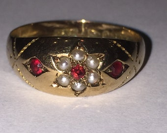 A Victorian Gold, Seed Pearl and Ruby ring.Chester circa 1893.