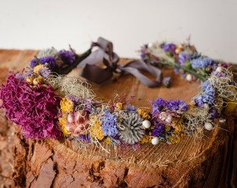 Colorful Preserved Flower Crown, Natural floral headband