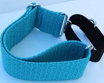 "2"" Turquoise with Dog Bones Print Martingale collar ribbon over nylon"