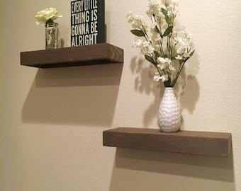Set of 2 Rustic Floating Shelves