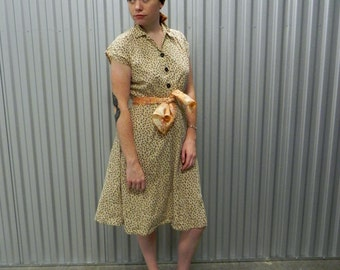 Handmade Vintage 50s Cotton Floral Dress