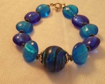 Blue Glass Bead Bracelet - Blue Bracelet - Women's Blue Bracelet - Blue - Bracelet - Women's Bracelet - Blue Glass Bracelet - Blue Glass