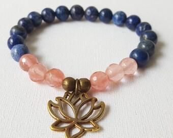 FREE SHIPPING,8 mm FacetedCherry Quartz,  Lapis Lazuli  bracelet, Lotus bracelet, Women bracelet, Healing Jewelry