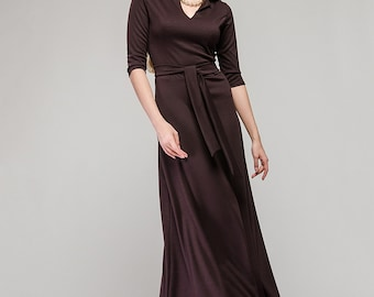Long Brown Dress Knit Flared Dress Formal Dress. Maxi Dress Long Sleeves Casual Dress.