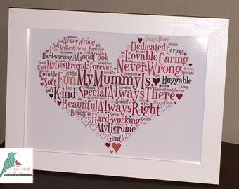 Personalised Mum Word Art unique gift & keepsake - framed and un-framed A4 prints and A3 Poster size prints - Any words, any colours