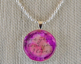 I Love You #3 - watercolor pendant necklace - OOAK