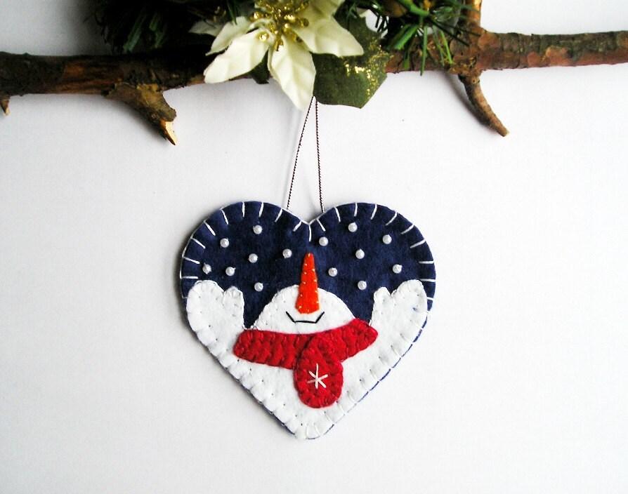 Christmas Ornament Snowman Tree Ornaments Felt Heart Home