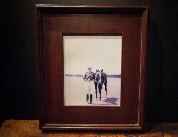 Antique British Polo Player Photograph in a Wood Frame