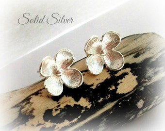 Solid Sterling Silver Flower Stud Earrings - Gift For Her -
