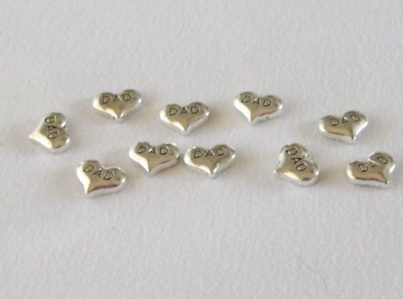 Dad Heart Tibetan Silver Floating Charms - 10pcs