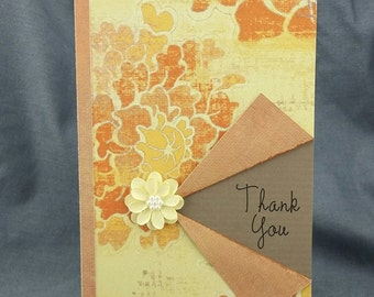 Handmade Yellow and Orange Thank You Card