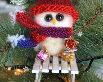 Christmas tree Needle Felted Owl Ornament