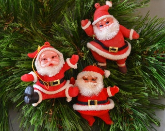 Vintage Made In Japan Flocked Santa Christmas Ornament Set of 3