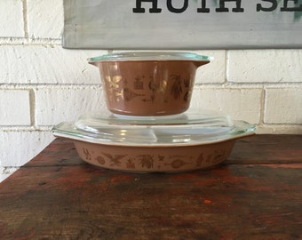 Vintage Pyrex Early American 473 W/ Lid & Divided Casseroles Cat Corn Brown Gold