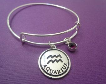 Zodiac Jewelry~ Aquarius January February Birthday Bracelet with Garnet Amethyst Birthstone,Gift for Mom Daughter Best Friend Girlfriend