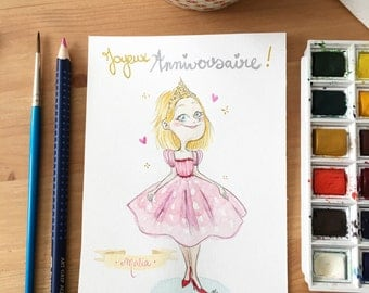 Illustrated watercolor birthday card