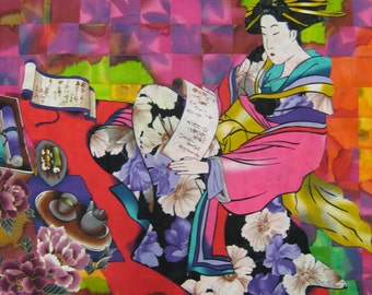 Quilted Wall Hanging/Geisha in the Garden/Over 350 Pieces