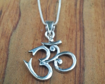 Om sterling silver necklace/ Pendant/ Om/ Jewelry/ Jewelry Making/ Sanskrit