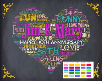 30, 30 Anniversary, 30 Anniversary Gift, 30th Anniversary Gift, Thirty, 30 Year Wedding Anniversary DIGITAL DOWNLOAD .JPG