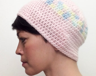 Pastel Knit Adult Hat (Pink, Green, Yellow, Blue)
