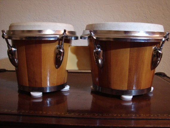 Vintage bongo drums stave construction natural wood tune with