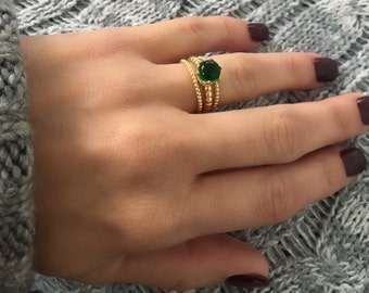 Emerald ring. Sterling silver bead emerald ring. 5 mm cabochon emerald ring. May birthstone ring. Stacking ring. Beaded ring. Gemstone ring.
