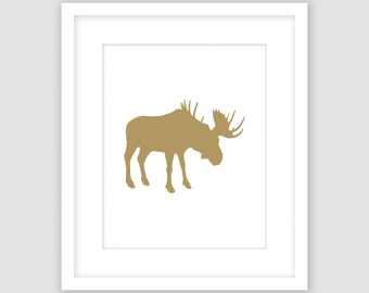 White and Gold Moose Silhouette Print, Animal Wall Art, Modern Art, Instant Download, DIY, Printable