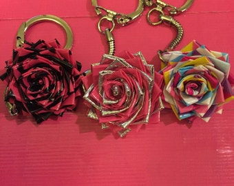 Duct tape flower keychain