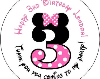 12 number Baby Minnie mouse Theme Birthday Party Stickers 2.5 inch Round Personalized kids 3 3rd