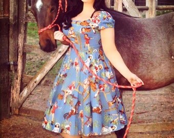 Vintage swing Cowgirl Chic Country & Western Dress - Made to Order. All Sizes