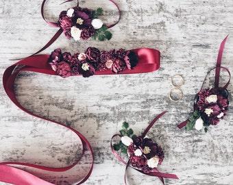 Fall wedding,Bridesmaids marsala sash, wrist corsage, Bridal sash, Marsala bridal sash, Floral sash, Sash with flowers, Boho wedding