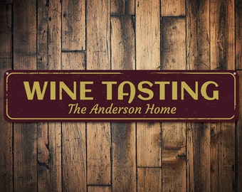 Wine Tasting Sign, Personalized Family Name Sign, Custom Wine Cellar Sign,  Wine Lover