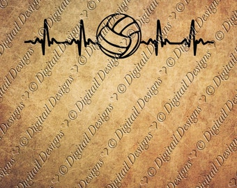 Volleyball EKG SVG Volleyball Love png, dxf, eps Cut file for Silhouette and Cricut Volleyball SVG Volleyball Heartbeat
