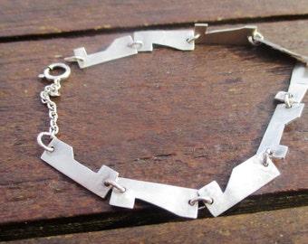Geometrcial Sterling silver bracelet, handmade