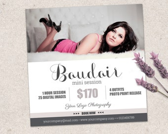 Boudoir marketing board mini session template. Marketing & advertising photography template. Fully editable Photoshop psd file. MS010
