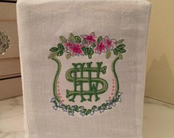 Custom monogram tissue box cover, kleenex cover, monogram linen, linen tissue cover, tissue box cover,