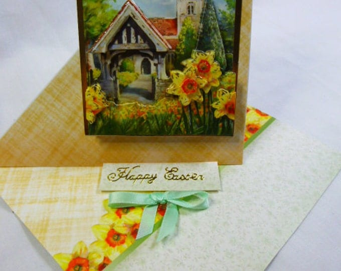 3D Decoupage, Easter  Card, Greeting Card,  Twisted Easel Card, Spring Flowers, Church Scene, Female, Any Age