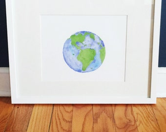Art Print // Watercolor Planet Earth~ watercolor print