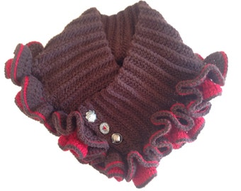 Handmade crochet ruffled cowl neck warmer scarf all sizes kids and adult