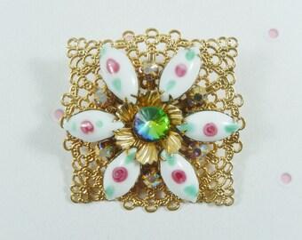 Very Pretty Lacey Gold Tone Frame with Vitrail Rivoli AB Rhinestone Milk Glass Flower Brooch Pin
