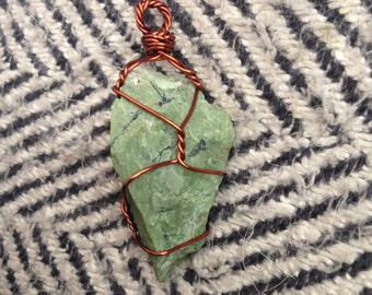 Wire Wrapped Green Opal Necklace
