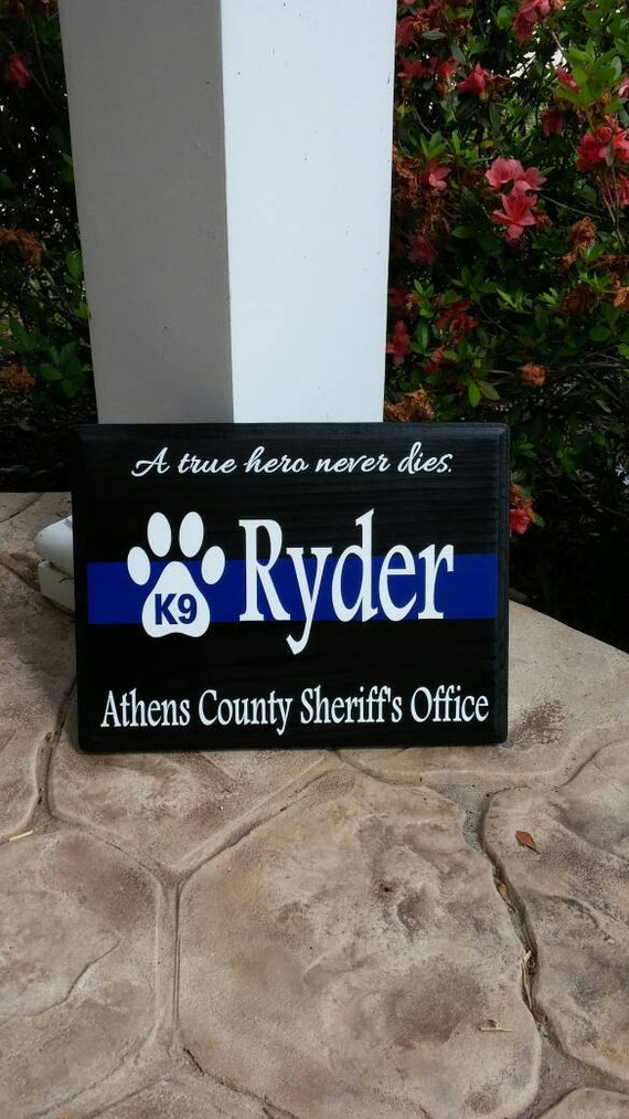 Thin Blue Line K9 Paw Print Personalized Police Wood Wall