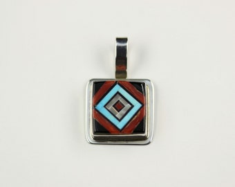 Native American Zuni Inlay Sterling Silver Pendant By V. Vacit