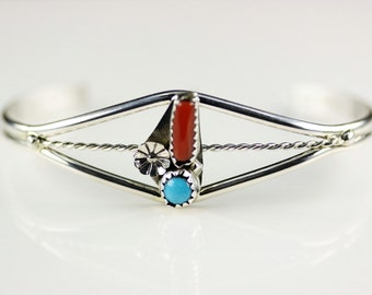 Naative American Indian Jewelry Sterling Silver Turquoise And Coral Cuff Bracelet