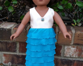 18 Inch Doll Blue Turquoise Ruffle Knit Dress