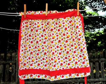 Vintage 1950's Cotton Hostess Apron / Red & Yellow Pear Design with Bright Red Trim